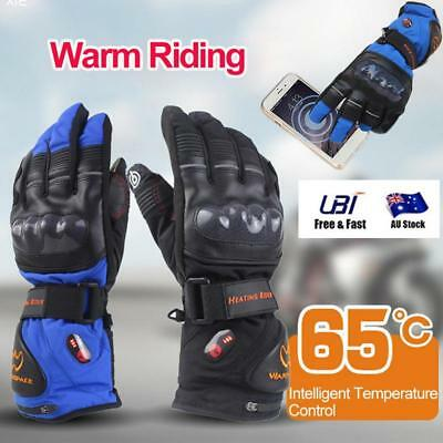 8H Mens Waterproof Windproof Touch Screen Heated Motorcycle Gloves Riding Burner