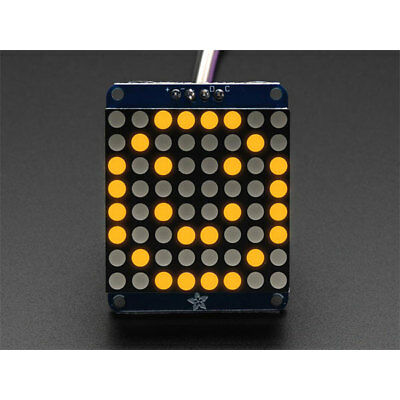 "Adafruit 1050 Small 1.2"" 8x8 Round LED Matrix with I2C Backpack Yelllow"