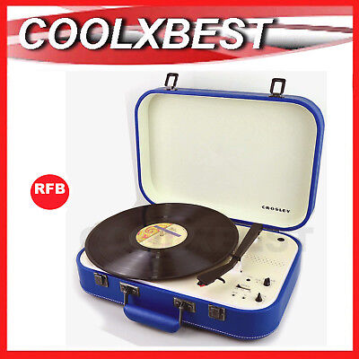 CROSLEY COUPE BLUETOOTH PORTABLE TURNTABLE 3 SPEED with PITCH CONTROL BLUE (RFB)