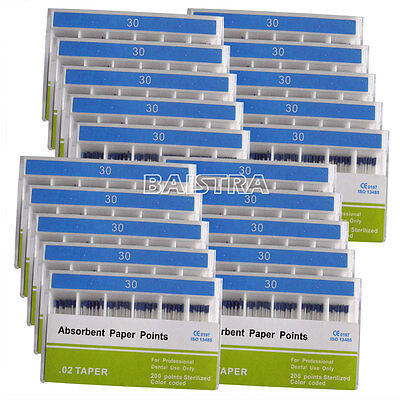 50 Kits Dental Root Canal Cleaning Absorbent Paper Points PP02 30# 200pc/set Top
