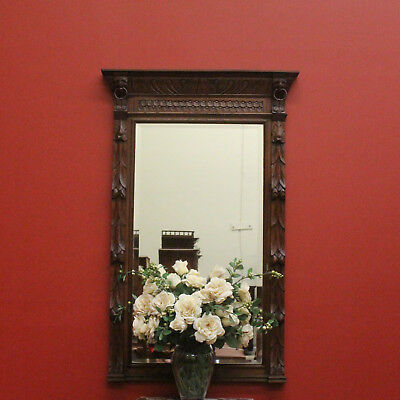 Antique French Oak Wall Hanging Bevelled Mirror with Heavily Carved Frame