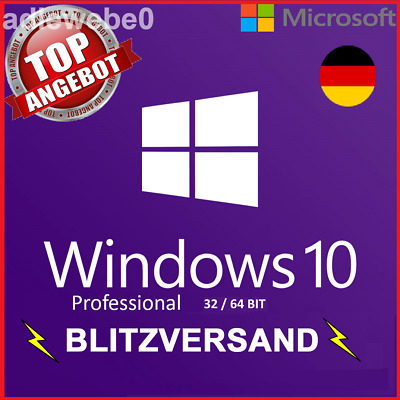 Microsoft Windows 10 Pro Professional 32 / 64 Bit • Vollversion • Lizenz Key