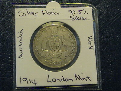 Australia Florin 1914 London Silver 92.5% King George V  Nice Coin London Mint