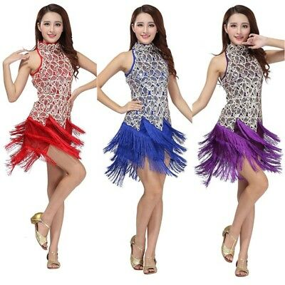 Women Bling Latin Sequins Ballroom Salsa Samba Rumba Tango Dance Dress Costume