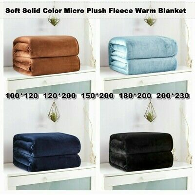 Super Soft Warm Solid Micro Plush Fleece Blanket Throw Rug New Sofa Bed Cover