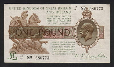 GREAT BRITAIN P-359a. (1922-23) One Pound.. Warren Fisher..  VF - Crisp