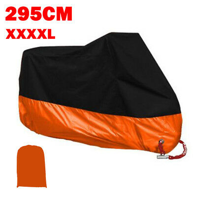 XXXXL 190T Waterproof Rain Dust Motorcycle Cover Orange Outdoor UV Protection