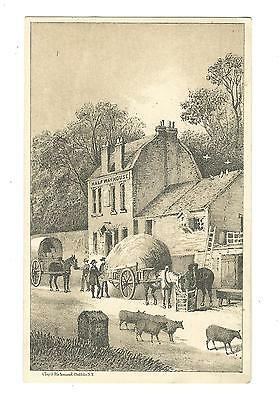 Old Trade Card Domestic Sewing Machine Co New York Half Way House Horses Wagons