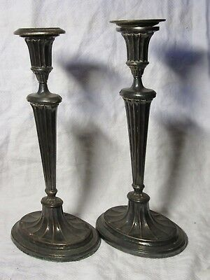 "Pair 12"" Antique CANDLESTICKS Silver Plated"