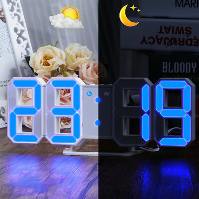 LED Digital Wall Clock Dimmer Brightness Alarm Snooze Modern 3D Wanduhr Uhr