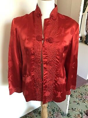 Vintage Asian Chinese Lounge Jacket Red Satin Oriental Size 10