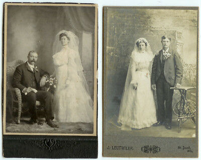 RARE VINTAGE: Two St. Louis Wedding Couples Cabinet Cards - The Bride and Groom