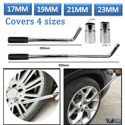 Extendable Wheel Brace Wrench Telescopic Car Van Socket Tyre Nut 17 19 21 23 mm