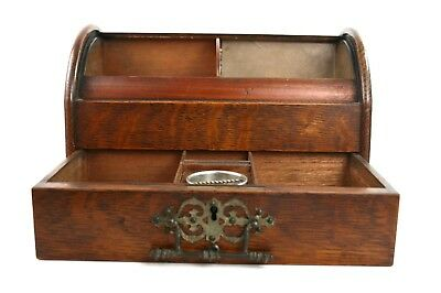Antique Edwardian Wooden Tambour Roll Top Stationary Box Desk Tidy With Key