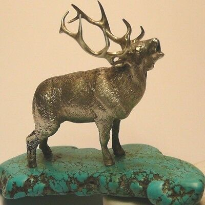 Royal Faberge Deer Imperial Russian 84 Silver Diamonds Turquoise