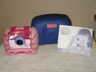 Fisher Price Kids Digital Camera 2007 Blue White Red Kid Tough,Tuff and Case SET