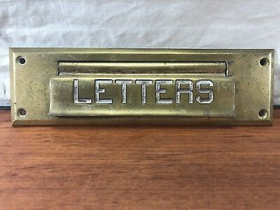 Old Victorian House Vintage Front Door Antique Brass LETTERS Mail Slot Art Deco