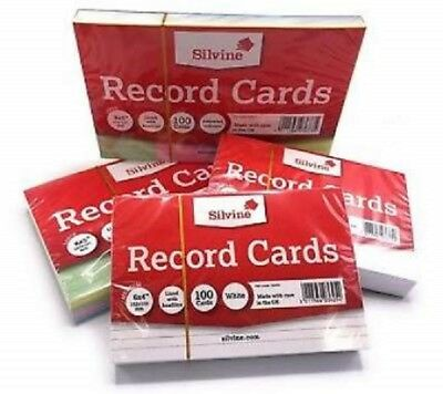 Silvine Record Cards Revision Flash Index White Plain/ Ruled Coloured