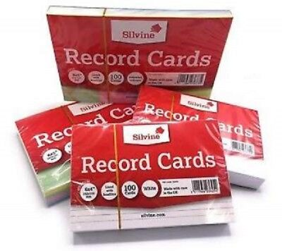 Silvine Record Cards Revision Flash Index White / Ruled Coloured