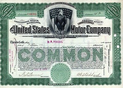 The United States Motor Company of New York 1912 Stock Certificate