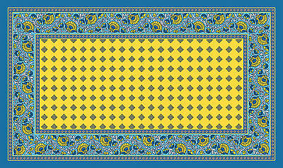 Toland French Paisley Yellow 18 x 30 Decorative Colorful Blue Floor Mat Doormat