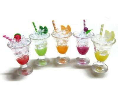5 Mix Fruit Juice Ice in Plastic Cup Dollhouse Miniature Food Beverage Drink