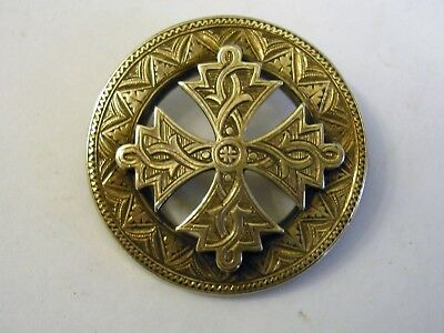 Victorian Antique Scottish Celtic Cross Brooch Jewell c 1890