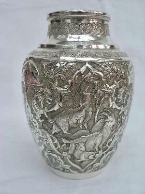 Superb Persian Vintage Repousse Decorated Solid Silver Vase.