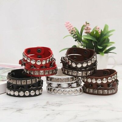 Unisex Cool Rock Punk Multi-tier Faux Leather Stud Chain Wristband Bracelet Gift