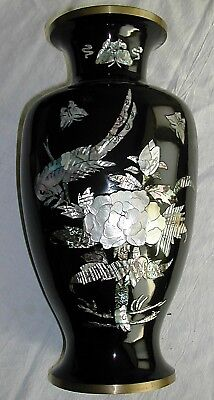 Korean Urn or Vase, Black Lacquered with Mother of Pearl Figures