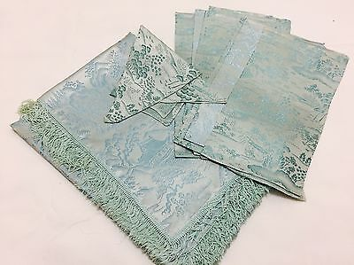 Vintage Japanese Table Linen Set, Blue Acetate Tablecloth U0026 8 Napkins  (RF602)