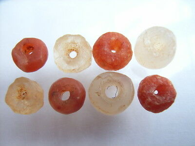 8 Ancient Neolithic Carnelian, Rock Crystal Beads, Stone Age, VERY RARE! TOP!