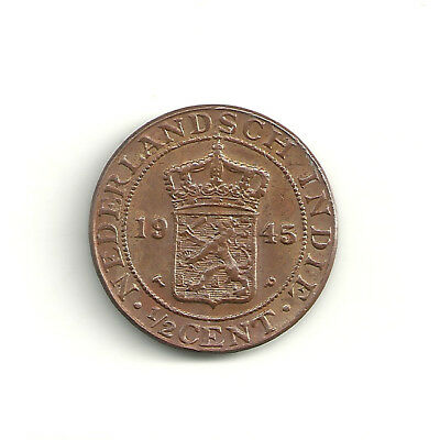 Netherlands East Indies 1/2 Cent KM# 314.2 1945P coin(10) Nice Coin!