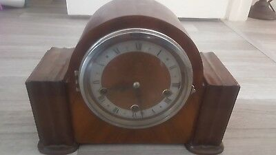 ENFIELD ANTIQUE 1930s WESTMINSTER CHIMING MANTEL CLOCK WITH KEY OAK