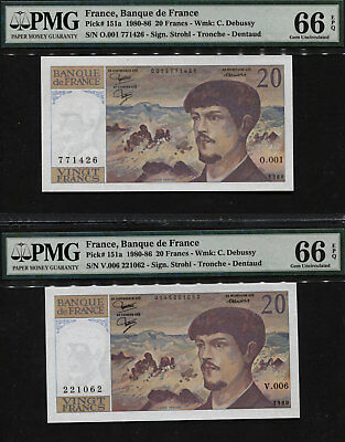 "TT PK 151a 1980-86 FRANCE 20 FRANCS ""C. DEBUSSY"" PMG 66 EPQ GEM SET OF TWO!"