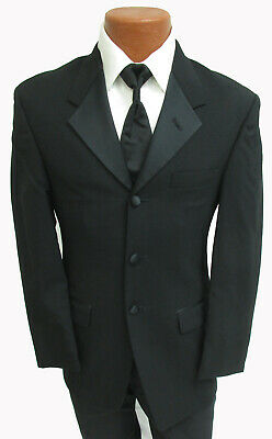 Mens Black Kenneth Cole Tuxedo Jacket with Shirt & Tie Cheap Prom Halloween Tux!