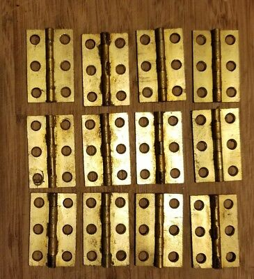 12 Antique Vintage Old Solid Brass Cabinet Hinges Never Used + More Available