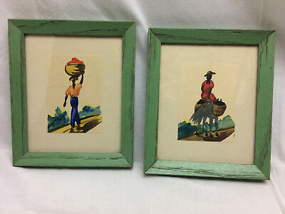 2 Vintage Watercolor Paintings Mexico Southwest Framed c1940s Findlay Ohio