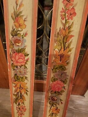 Pair Hand Painted Tole / Folk / Floral Wooden Window Valances / Shabby Chic