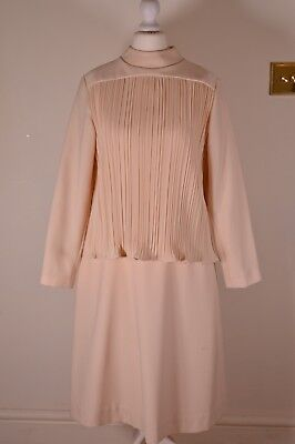 Vintage Designer Ladies Peggy French Dress Wedding Suit Cream Beige Nude 14 70s