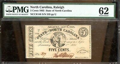 1863 PMG 62 Uncirculated North Carolina 5C Fractional Currency Note AB193