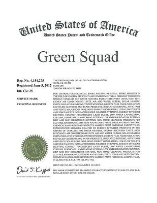 """Trademarks For Sale. """"Green Squad""""Class 35 and 42"""