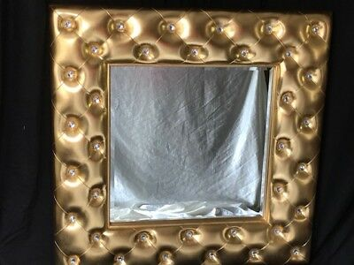 Large Gilt Beveled Hotel Wall Mirror Button Crystals Style Easter Gift