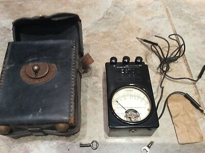 Vintage Weston Model 689 Ohmmeter Type 1F Meter Ohms Rare Leather Case