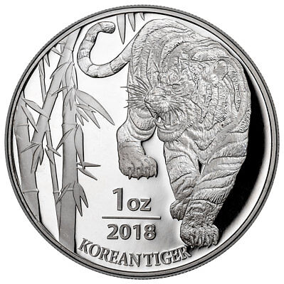 2018 South Korea 1 oz Silver Tiger Coin GEM BU SKU53031
