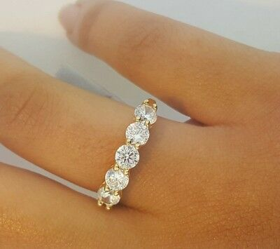 14k Solid Yellow Gold 1.25 CT Round Cut Diamond Engagement Ring 5 stones
