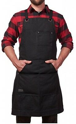 Hudson Durable Goods - Heavy Duty Waxed Canvas Work Apron with Tool Pockets and