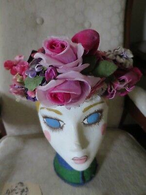 Vintage Ladies Floral Hat Purple Pink Velvet Ribbon Millinery Flowers
