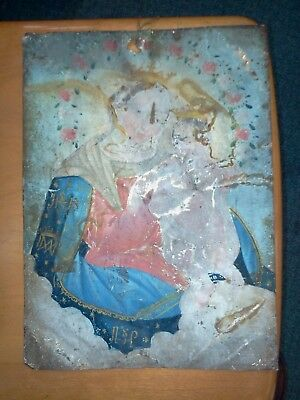 "Antique Mexican Retablo ""Lady of Lima"" Oil on Tin 14 x 10"