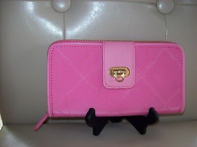 Vera Bradley Preppy Poly Wallet Pink Blossom New Flip Lock Closure Cute